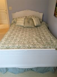 Double bed, painted white.  Additional dressers available.