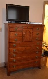 Bedroom suite - night stand, queen size sleigh bed, dresser with mirror, chest of drawers