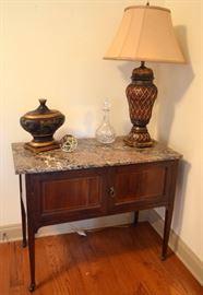 Louis XVI server/sideboard (marble top has break)