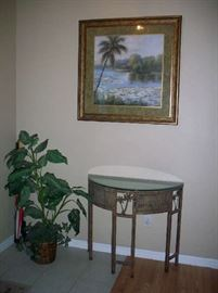 Art print ,  Metal with Glass top Demilune Entry Table, Faux plant
