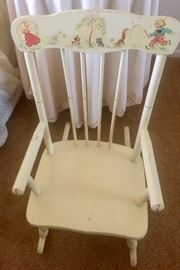 Vintage Hand painted child's rocking chair