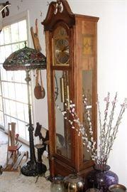 Grandfather clock, vases, Tiffany style floor lamp