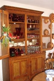 Great hutch with ruby thumbprint glass and more