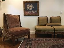 Sloped Arm Chairs, Pair, Carved Frame Ottomans