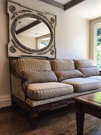 Custom Made Carved Frame Sofa and Matching Love Seat, Ornate Mirror