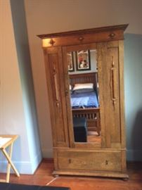 Tiger wood clothing armoire and mirror