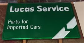 Lucas Service metal sign.