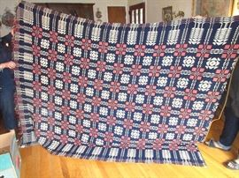 wonderful old Jacquard coverlet with middle seam, no signature, a real beauty