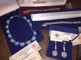 Several reproductions of Jacqueline Kennedy jewelry