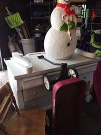 wagon, large snowman, dresser with mirror