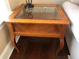Stanley Light Wood Square Glass-Top End Table