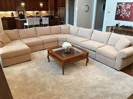 Jonathan Louis L-Shaped Beige Upholstered Sofa Grouping w/ Chaise
