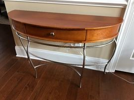 Stanley Light Wood & Metal One-Drawer Demilune Entry Table