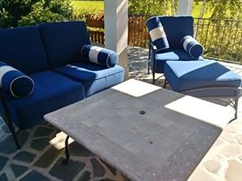outdoor loveseat and chair/ottoman