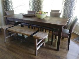 Beautiful farmhouse table, bench and armless chairs