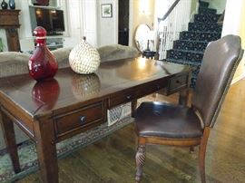 Great desk and leather chair