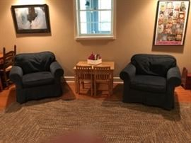 Blue club chairs, childs table