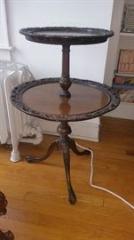 1930's-1940's Pie Crust Two Tier Table