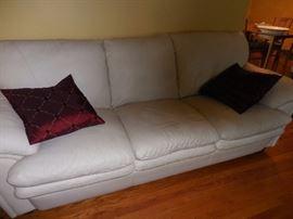 Dania Leather Furniture,, White Leather Over Stuffed Sofa
