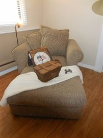 Crate Barrel Over Stuffed Chair with Ottoman