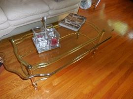 Beveled Glass Cocktail Table with Gold Tone Frame