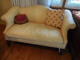 Vintage GORGEOUS Soft Yellow Silk Brocade Fabric Mahogany Frame ,Settee, Ralph Lauren Decorative Pillows