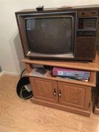 OAK TV STAND, OLDER TELEVISION