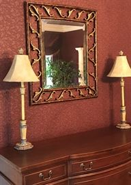 Decorative lamps and gold gilt mirror