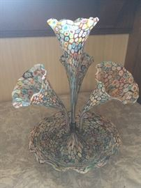 Stunning Millefiori Art Glass Murano Epergne 4 horn Trumpet Vase. (Minimum price per Client Request. Please call or email for information)