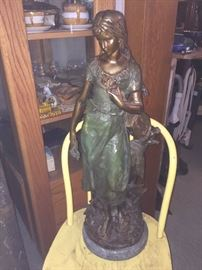 """""""Standing Mandolin Woman"""" Bronze Sculpture -After A Moreau... Mounted on fine marble base. Signed- Mint condition. Appx 29.5Hx11""""W   (Lost Wax Cast Bronze Reprodution)"""