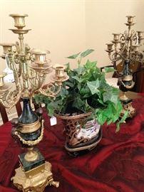 Elegant gold & black candelabras