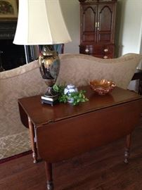 Drop leaf table, lovely lamp, and Carnival glass bowl