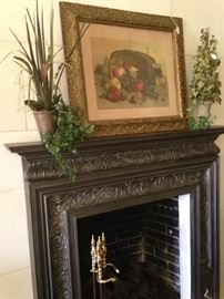 Antique framed fruit stylelife; brass fireplace tools