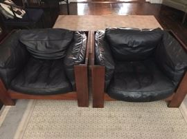 1980's burl wood Brutalist style chairs with down filled leather cushions