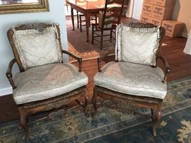 BUY IT NOW - Lot # 105 Pair of antique wicker chairs with custom made cushions.  Beautiful carved details.  $200 each or $375 for the pair.