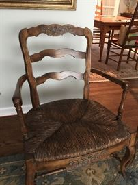BUY IT NOW - Lot # 105 Pair of antique wicker chairs with custom made cushions.  Beautiful carved details.  $200 each or $375 for the pair. (picture of chair without cushions)
