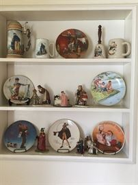 Large collection of Norman Rockwell collectors plates, mugs & figurines