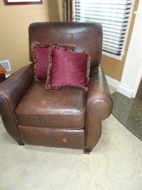 """Kravit leather Recliner also- """"Made in America"""" 34""""D X 38""""H X 36""""W"""