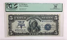 1899 $5 One Papa Chief Silver Certificate Rare