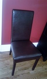 Straight Black Leather Chair