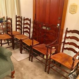 Set of 6 Tell City rush seat ladderback chairs (2 arm chairs, 4 side chairs). All in very good condition.