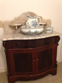 Antique marble top wash stand with blue & white bowl & pitcher