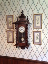 Another fine clock; framed botanical prints