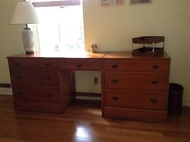Hard Rock Maple Desk and Matching Chest of Drawers