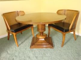 Mid Century Barrel Cane Chairs w/ Gorgeous Solid Wood Pedistal Table (See next photo for table top detail)