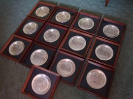 The Danbury Mint~STERLING SILVER~Vintage Plate Collection (13 plates) with Presentation Frame