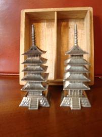 STERLING SILVER 950 Pagoda Salt & Pepper Shakers w/ Wood Box