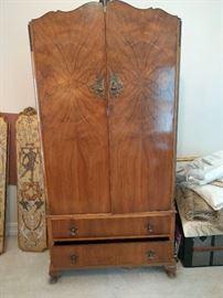 1930's fruitwood veneer armoire, in exceptional original condition.