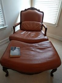 Very nice leather/walnut frame Italian bergere chair & matching ottoman, dated 1995 and made by:                                                     Chateau D'ax spa                              Via Nazionale del Giovi 159                                         Lentate S/S (Milan)