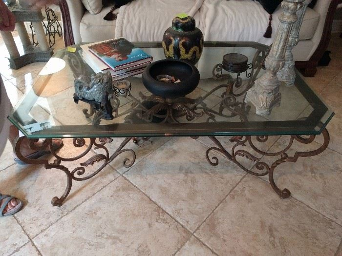 """Heavy wrought iron/beveled glass coffee table, from the film, """"The Blind Side"""", with Sandra Bullock."""